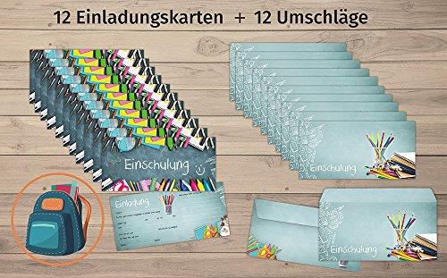 beriluDesign Einschulung Einladungskarten mit Umschlägen (12er Set) Zum Schulanfang | Liebevoll Gestaltete Einladungen für Kinder Zum Schulbeginn - 3
