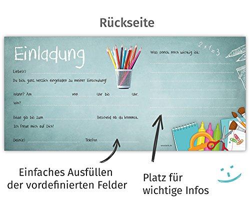 beriluDesign Einschulung Einladungskarten mit Umschlägen (12er Set) Zum Schulanfang | Liebevoll Gestaltete Einladungen für Kinder Zum Schulbeginn - 5