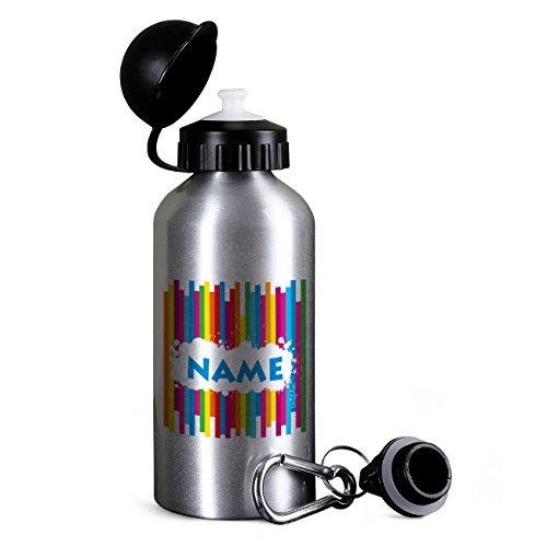 500 ml Trinkflasche mit Namen in Silber - für die Schule