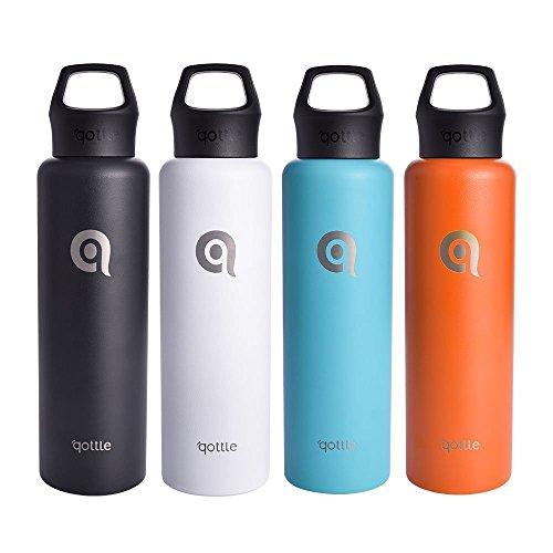 Qottle Thermosflasche, BPA Frei (Schwarz, 740ML)