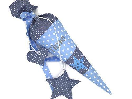 Geschwisterschultüte mit Namen, Sterne, Blau