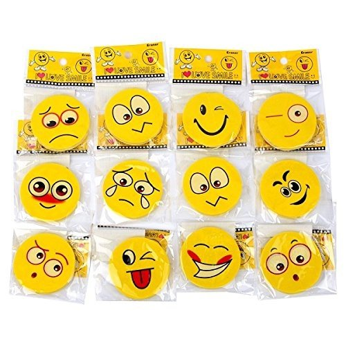 24er Pack Radiergummi Smiley ca. 4,5 cm