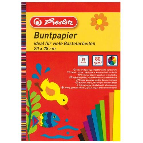 Herlitz Buntpapierblock, 20 x 28 cm, 10 Blatt, 5-er Pack