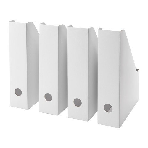 IKEA FLUNS Zeitschriftensammler in weiß; 4 Stück