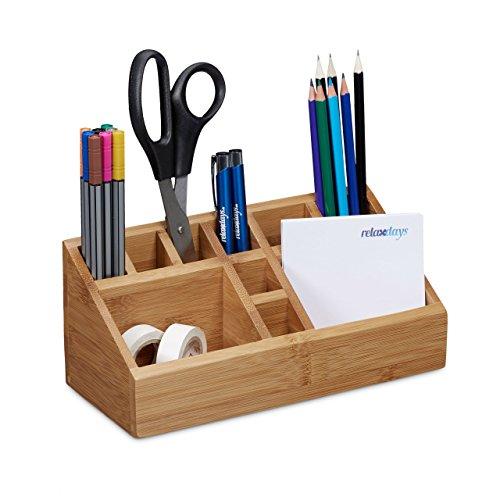 Relaxdays Schreibtischorganizer Bambus, 10 Fächer