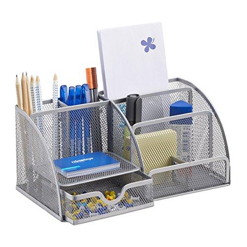 Relaxdays Schreibtischorganizer 6 Ablagen, silber
