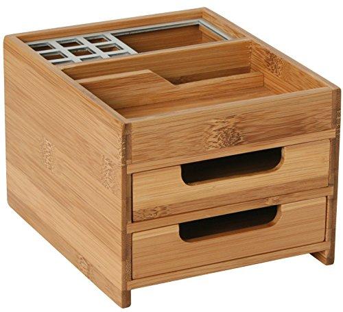 Schreibtischbox M Bambus/Alu