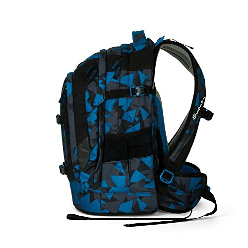 Satch Pack by Ergobag - 2tlg. Set Schulrucksack (+SchlamperBox Etui) - Blue Triangle - 2