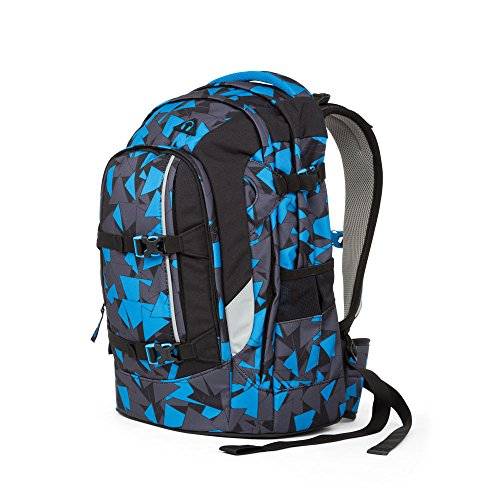 Satch Pack by Ergobag - 2tlg. Set Schulrucksack (+SchlamperBox Etui) - Blue Triangle - 9