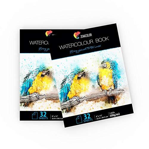 2 x Aquarellblöcke, A4 Format, naturweiß 300g