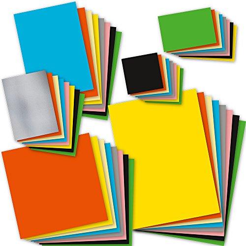 Bastelpapier Set bunt 8 Farben x 6 Formate je 5 Blatt