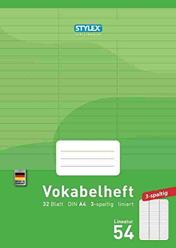 STYLEX  Vokabelheft, DIN A4, 3-spaltig, Lineatur 54