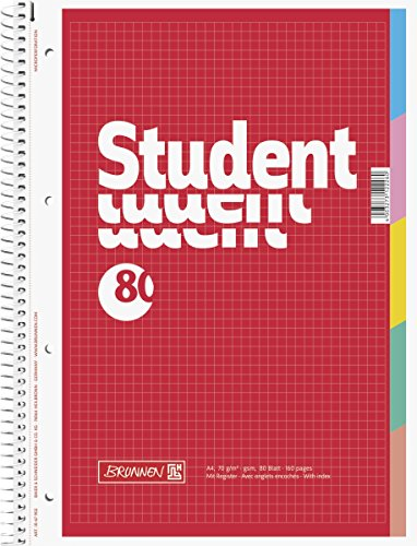 Brunnen Collegeblock Student mit Register, A4, kariert