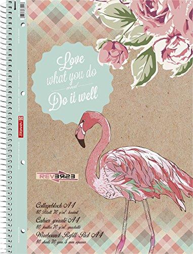 Brunnen Collegeblock Student kariert, A4, Flamingo