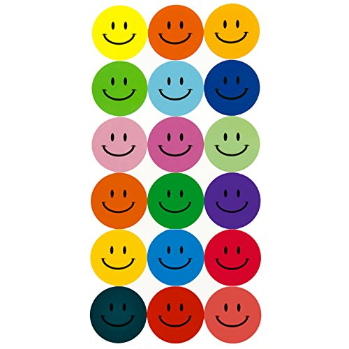 180 Bunte Smiley Face Stickers ø 2cm